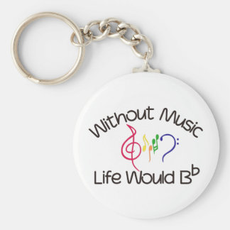 Without Music Basic Round Button Key Ring