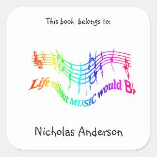 Without Music Life would B Flat Fun Bookplate art Square Sticker