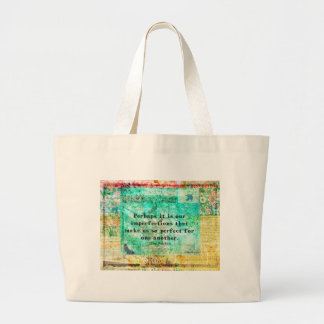 Witty Jane Austen quote Large Tote Bag