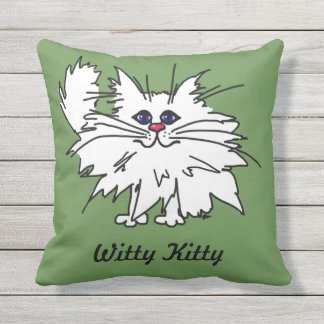 Witty Kitty Outdoor Throw Pillow