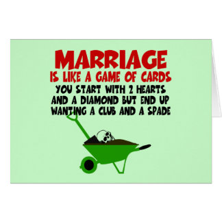 Witty marriage slogan card