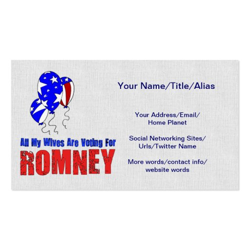 Wives For Romney Business Card Templates