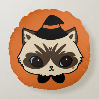 Wizard Cat Halloween Collection Round Cushion