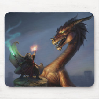 Wizard Defense - Dragon & wizard Mouse Pad
