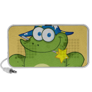Wizard Frog With A Magic Wand In Mouth Travelling Speaker