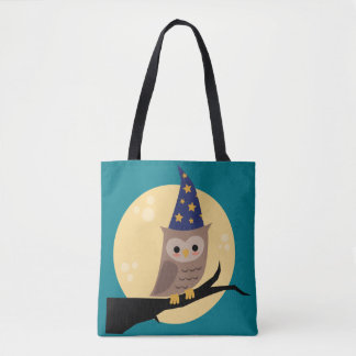 Wizard Owl All-Over Print Green Tote Bag