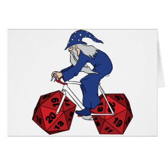 Wizard Riding Bike With 20 Sided Dice Wheels Card