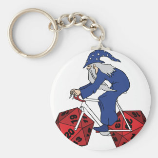 Wizard Riding Bike With 20 Sided Dice Wheels Key Ring