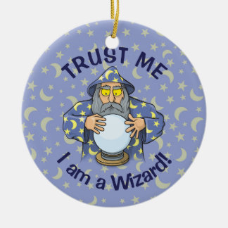 Wizard with Ball Ceramic Ornament