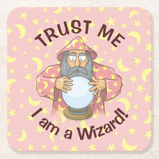 Wizard with Ball Square Paper Coaster