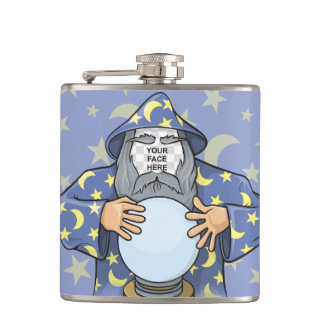 Wizard with your face hip flask