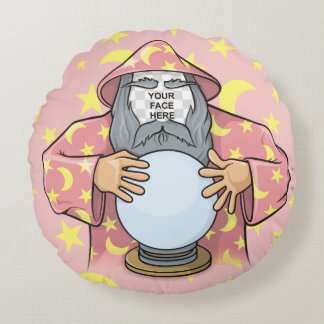 Wizard with your face round cushion