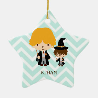 Wizards Magician Brothers on Chevron Background Ceramic Star Decoration