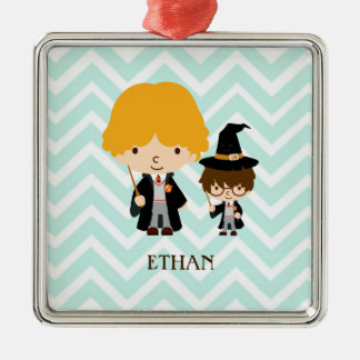 Wizards Magician Brothers on Chevron Background Silver-Colored Square Decoration