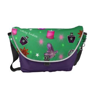 WK #ModernWitchLife Green Print Overnight Bag Messenger Bag