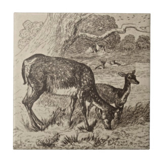 Wm Wise Minton Doe & Fawn Deer Antique Repro Sepia Ceramic Tile