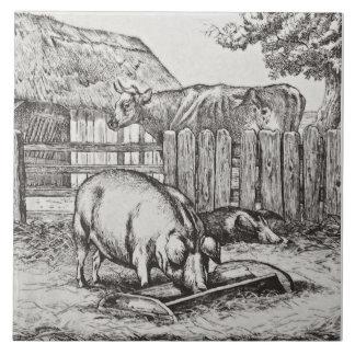 Wm Wise Minton Farm Animals Pigs Tile Repro c 1879