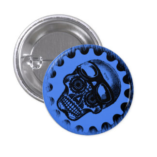 W'nR'n Blue Sugar Skull button