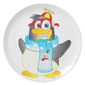 Wobble Penguin Cartoon Character Plate