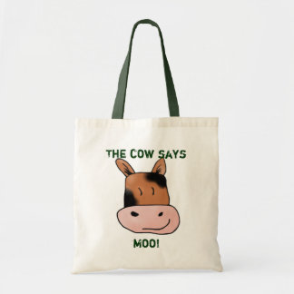 Wobbly Cow says moo! Tote Bags