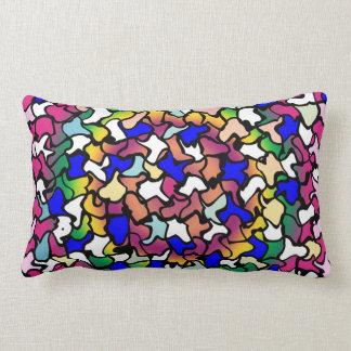 Wobbly Vibrant Tiles Cotton Throw Pillow