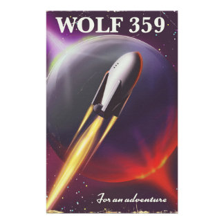 """Wolf 359 """"for an Adventure"""" Space travel poster Stationery"""