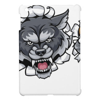 Wolf American Football Mascot Breaking Background Cover For The iPad Mini