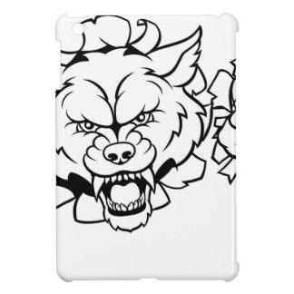 Wolf American Football Mascot Breaking Background iPad Mini Cover