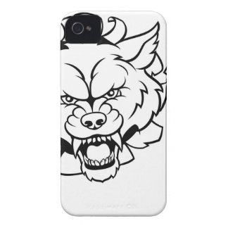 Wolf American Football Mascot Breaking Background iPhone 4 Case-Mate Case