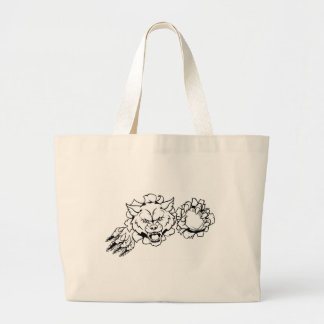 Wolf American Football Mascot Breaking Background Large Tote Bag
