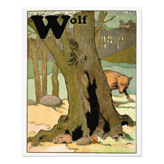Wolf and Bunny Rabbit in the Dark Forest Alphabet Photo Print