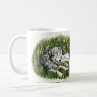 Wolf and Butterflies Drawing Mug