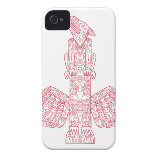 Wolf and Eagle Totem Pole Doodle Art iPhone 4 Case