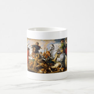Wolf and Fox hunt Peter Paul Rubens masterpiece Basic White Mug