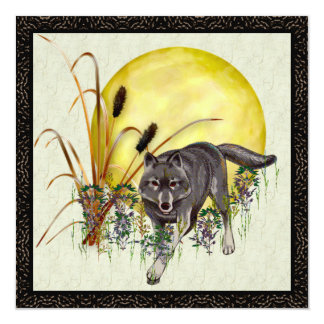Wolf and Full Moon 13 Cm X 13 Cm Square Invitation Card