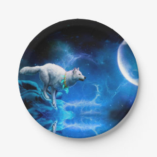Wolf and Moon 7 Inch Paper Plate