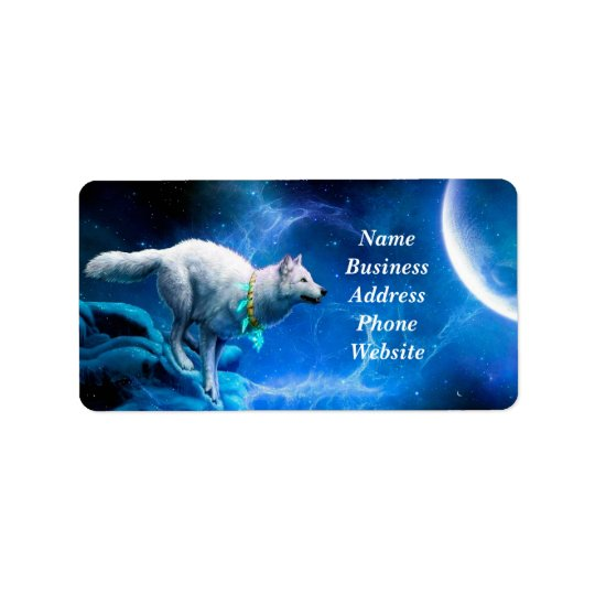 Wolf and Moon Address Label