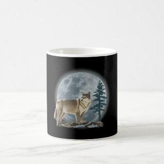 Wolf and moon design for coffee cup. coffee mug