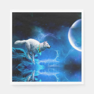 Wolf and Moon Paper Napkin