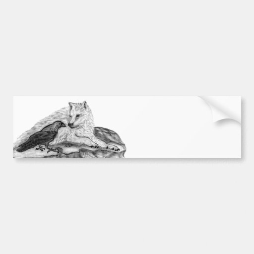 Wolf and Raven black and white design Bumper Stickers