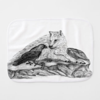 Wolf and Raven - black and white Design Burp Cloth