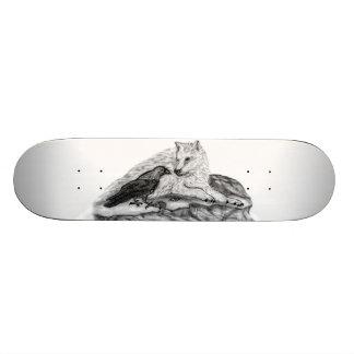 Wolf and Raven black and white design Custom Skateboard