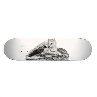 Wolf and Raven black and white design Custom Skateboard