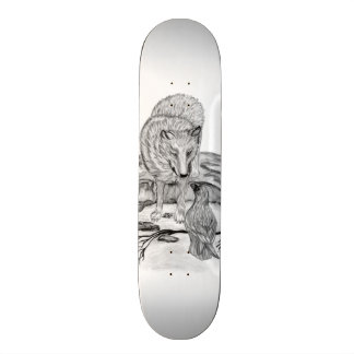 Wolf and Raven black and white design 19.7 Cm Skateboard Deck
