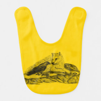 Wolf and Raven - Black and Yellow Design Bib