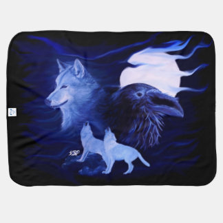 Wolf and Raven in the Night Pramblankets