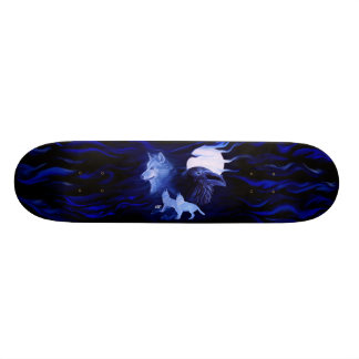 Wolf and Raven with full moon 19.7 Cm Skateboard Deck