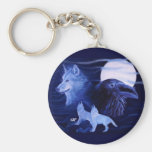 Wolf and Raven with full moon Basic Round Button Key Ring