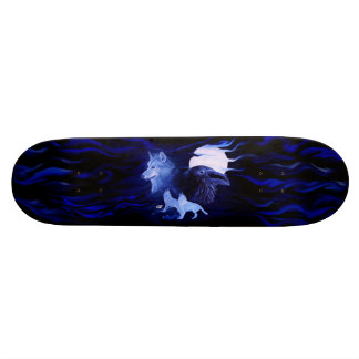 Wolf and Raven with full moon Custom Skate Board