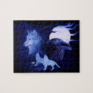 Wolf and Raven with full moon Jigsaw Puzzle